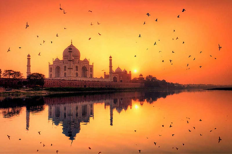 Sunset taj mahal